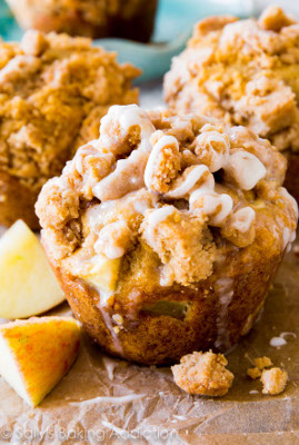 Glazed Apple Crumb Muffins