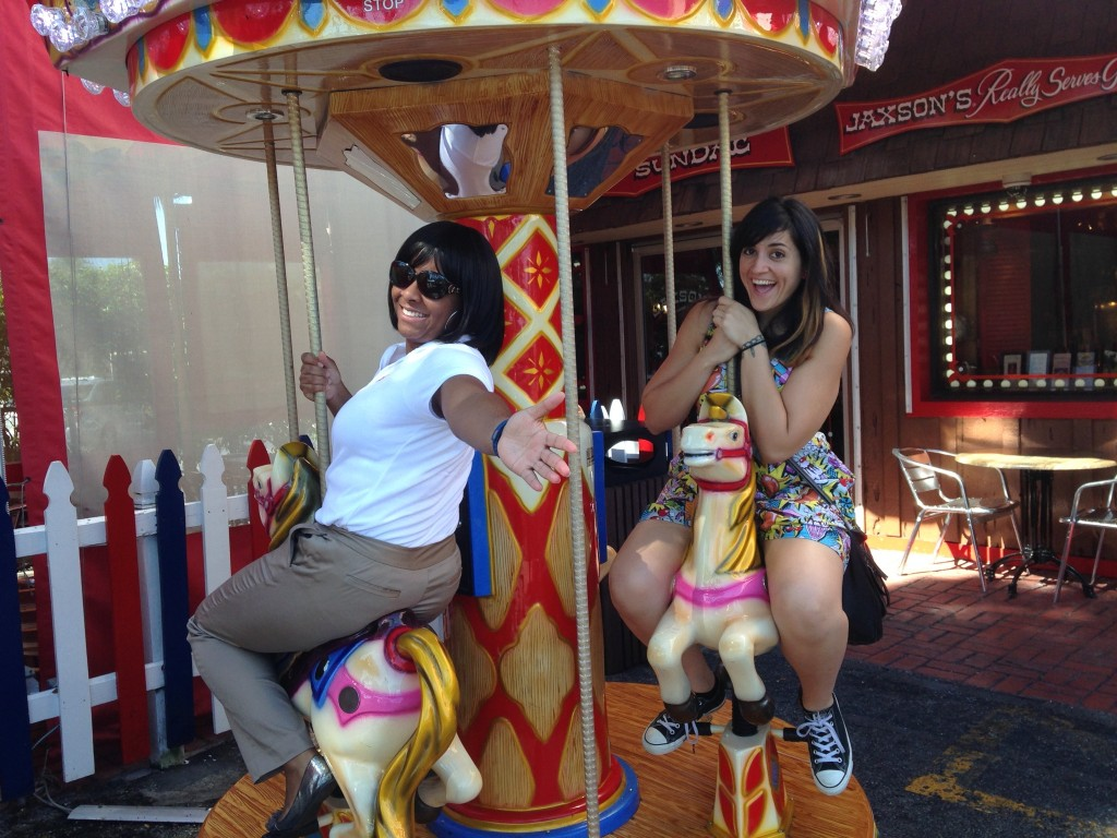 Yolanda and Merly on Merry-Go-Round at Jaxon's