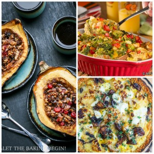 Acorn Squash, Veggie and Egg Casserole, Cauliflower and Mushroom Quiche