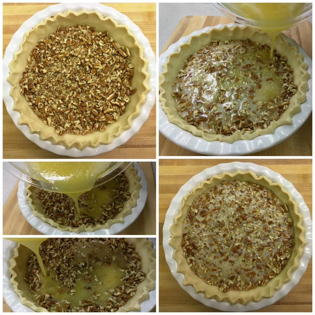 Pouring-Mixture-into-Pecan-Pie