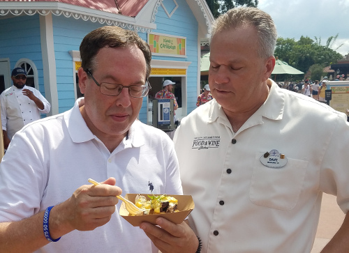 Howard and Chef Dave indulge in Caribbean cuisine at the Epcot International Food & Wine Festival